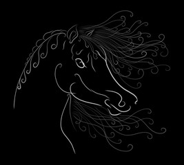 The horse's head with a fluffy mane painted graceful lines with swirls on black background
