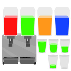 Cold drink dispenser machine and glass with water level