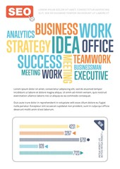Business infographics banner with diagram vector illustration. SEO analytics, marketing strategy, business statistics and planning template. Conceptual business poster with space for text