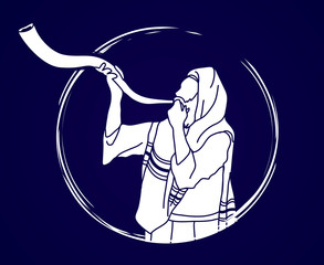 Jew blowing the shofar sheep kudu horn graphic vector.