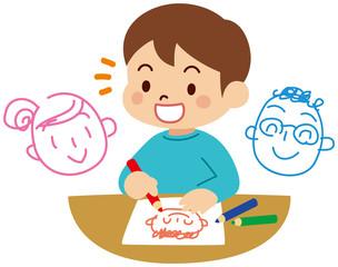 似顔絵を描く子供