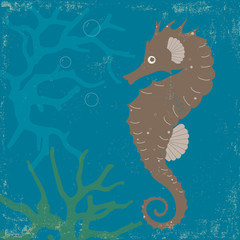 Vintage Poster with Seahorse and Coral