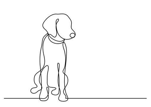 continuous line drawing of cute dog