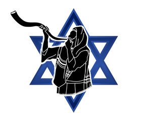 Jew blowing the shofar sheep kudu horn on Israel star background graphic vector.