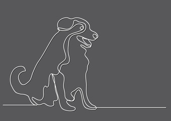 continuous line drawing of happy sitting dog