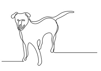 continuous line drawing of standing dog
