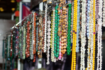 Colorful beads and necklaces
