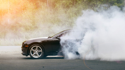 Drift - muscle car makes smoke