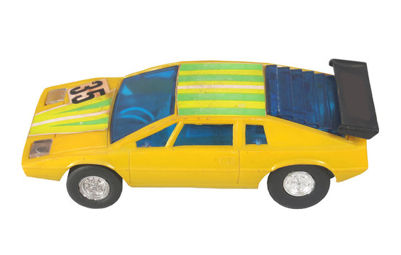 Yellow race car toy / Racing yellow  / isolated white
