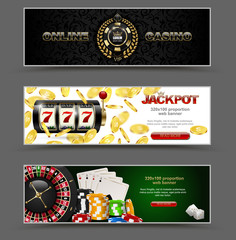 VIP poker luxury horizontal web banner set. Chip stack vector online casino text club golden logo concept. Royal poker card, roulette, dice. Slot machine, falling golden coins jackpot