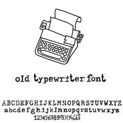Vector old typewriter font. Vintage grunge font. Vector illustration