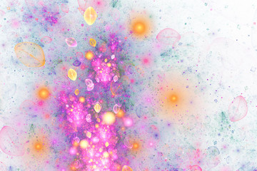 Abstract pink, blue and golden drops on white background. Fantasy fractal design. Digital art. 3D rendering.