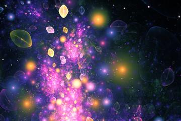 Abstract pink, blue and golden drops on black background. Fantasy fractal design. Digital art. 3D rendering.
