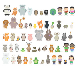 Big set of different animals. Zoo animals from different continents. A variety of fauna. Vector cartoon