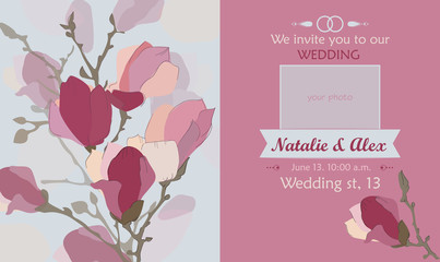 Wedding invitation with your photo. Wedding card on a floral background