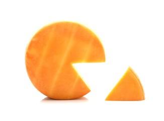 Cheese Wheel On White Background