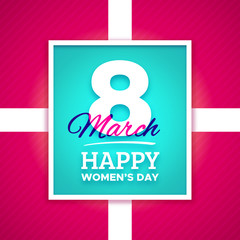 March 8 Happy Womens Day text in frame. Vector greeting card template for international female holiday.