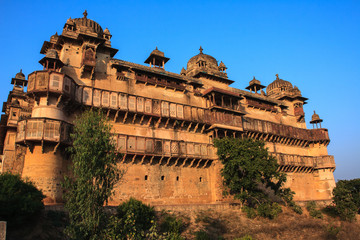 Walls of Orchha palace. India