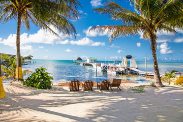 Beautiful  caribbean sight with turquoise water in Caye Caulker, Belize.
