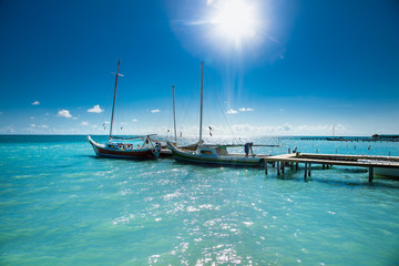 Caye Caulker dock on suny day. Belize