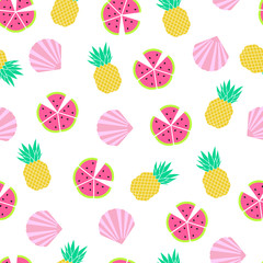 Seamless pattern with shell pineapple and watermelon
