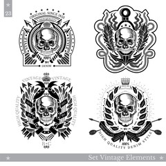Skull front view with diferent pattern around. Set of vintage banners on white