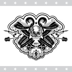 Skull front view between winding ribbons pattern and cross arrows behind. Heraldic vintage label on white
