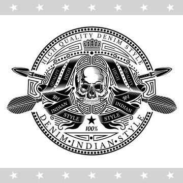 Skull front view in center of winding ribbon pattern and cross arrows behind. Heraldic vintage label on white