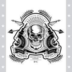 Skull front view in center of winding ribbon with cross arrows and line pattern. Heraldic vintage label on white