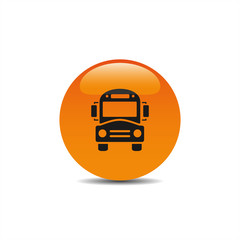 Bus school icon on an orange button