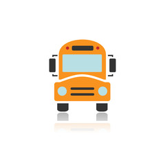 Bus school icon with color and reflection