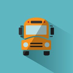 Bus school icon with shadow on blue background