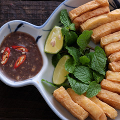 family meal, fried tofu with shrimp paste