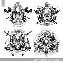 Skull front view with vintage elements and cross weapon. Set of vintage banners on white