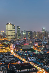 Shanghai business district at night,building group of China.