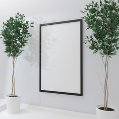 Poster frame mockup on wall and green home flovers. 3d rendering