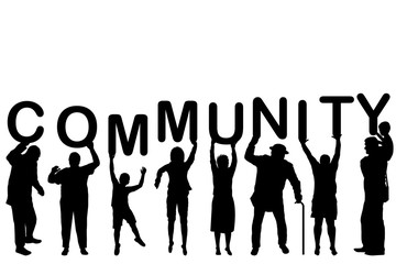 Community concept with people silhouettes