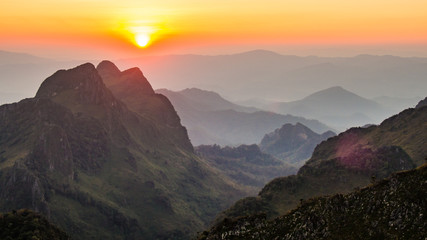Doi luang chiang dao,Thailand,Chiang mai.Big rock mountain.Sunset and twilight.Vale.Beautiful nature.