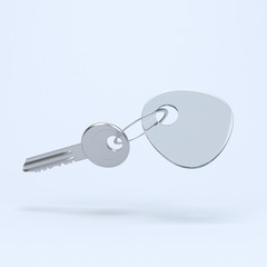 Keyring with key 3d rendering
