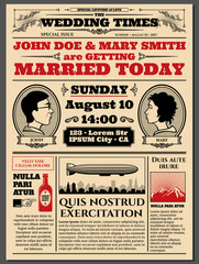 Vintage newspaper front page, wedding invitation vector layout