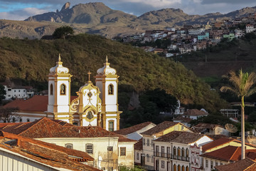 View of historic baroque church Igreja matriz Nossa Senhora do Pilar, Ouro Preto, UNESCO World heritage site, Minas Gerais, Brazil