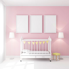 Frame poster mockup in children room 3d rendering