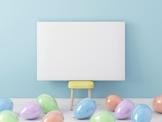 Poster blank mockup with colorful balloons in children room 3d rendering