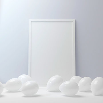 Frame poster blank mockup with white balloons on the floor 3d rendering
