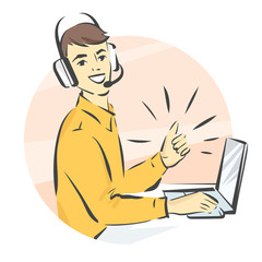 Call center support, vector illustration, man in handsfree headphones working on laptop and showing thumb up