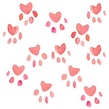 Seamless heart paws traces pattern, watercolor with clipping mask technique