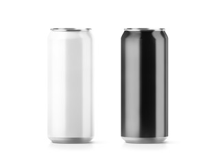Blank big black and white aluminium soda can mockup set, 3d rendering. Empty beer tin packing mock ups set, isolated. Canned drink jar packaging design template. Plain fizzy pop bank package branding.