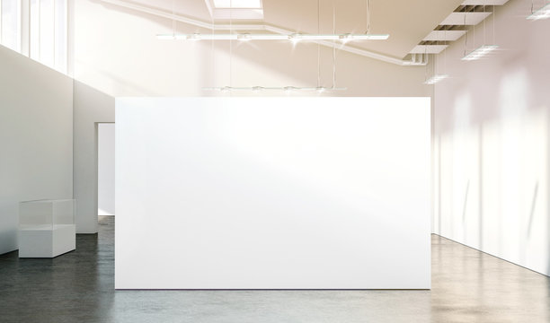 Blank white wall mockup in sunny modern empty gallery, 3d rendering. Clear big stand mock up in museum with contemporary art exhibitions. Large hall interior with wide banner exposition template.