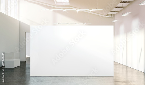 Modern Exhibition Stand Mockup : Quot blank white wall mockup in sunny modern empty gallery d
