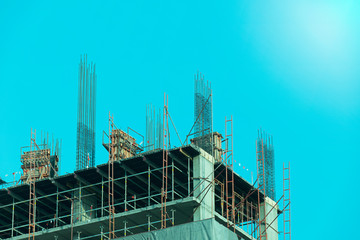 Construction - Steel Structures in building (blue filler style )